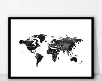 world map print black world travel wall art printable wall art travel print printable download black and silver worldmap watercolor world