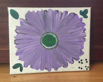 Purple flower canvas painting 8x10