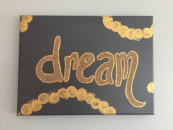 Dream dark grey and gold sparkle canvas painting  6f824cc912