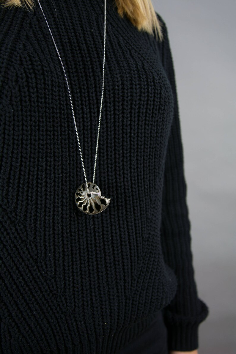 Natural Pyrite Ammonite Fossil Shell Pendant