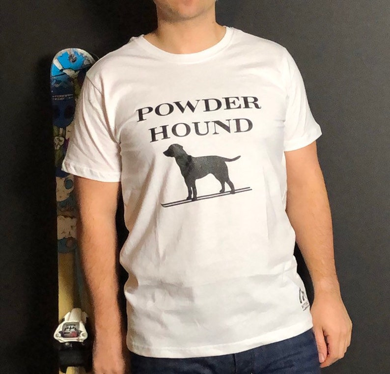 White Apres ski t shirt  Powder Hound  fun apres ski t shirt image 0