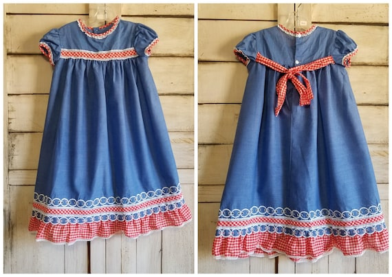 Vintage 1970's Red & Blue Maxi Country Girl Puff S
