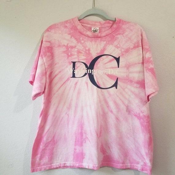 Y2K Washington DC Tie Dye T Shirt Sz XL Faded Crac