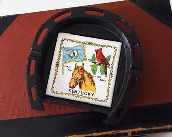 Vintage 50s Kentucky State Souvenir Ashtray - KY Travel Memento, Retro Decor, Collectible Ash tray, Mid-Century Keepsake, Horse Ashtray