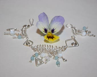Bracelet silverplated with pearls and amazonite