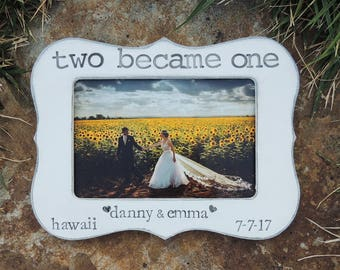 Two Become One Engagement Gift idea Personalized Engagement picture Frame Bridal shower bride to be Wedding Gift