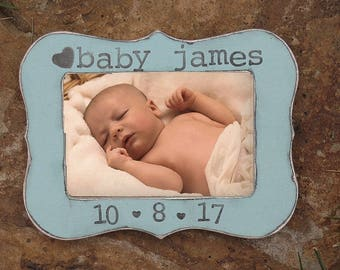 New Mom Gift First Mother's Day personalized picture frame for New parents gift Newborn baby boy picture frame Nursery decoration