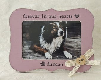 Custom Pet loss gift Forever in our hearts Personalized dog Cat picture frame Gift Pet Sympathy Gift cat Dog Memorial Frame Pet Lover Gift