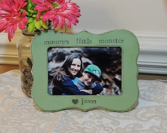 Mommy's little monster frame mothers day gift mom mama mommy dad Personalized Custom picture frame son daughter mother bride wedding gift