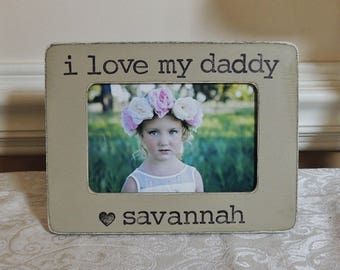 I love my daddy Wedding gift for dad thank you Gift dad father of the bride gift personalized picture Frame rustic wedding gift papa dad