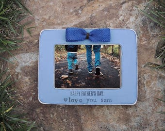 Happy Fathers day picture frame gift father Dad Personalized picture frame for Dad daughter son kids Custom frame from wife for husband