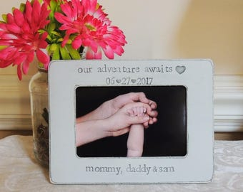 First father's mother's day frame gift Personalized newborn photo Picture frame gift for New mom dad to be our adventure awaits frame