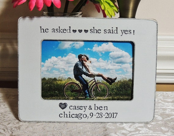 Rustic Engagement Gift Idea He Asked She Said Yes Picture Etsy