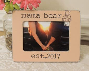 Mama bear picture frame Mother's day gift Mom to be gift for mom mommy Pregnancy Expecting mom gift Personalized photo frame