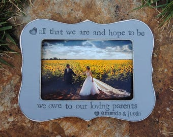 Parent thank you Gift picture Parent wedding gift frame Personalized wedding picture frame Mother Father groom bride gift Photo frame