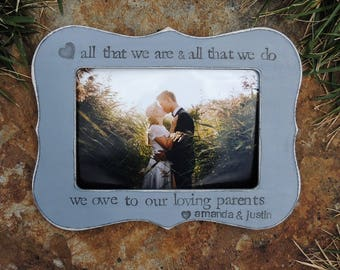 parent gifts from bride and groom Personalized wedding picture frame for mom dad Mother Father groom bride Photo frame gift