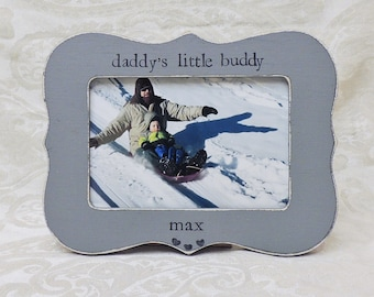 Daddy little buddy frame Fathers day gift dad papa daddy apa Personalized Custom photo picture frame son daughter father groom wedding gift