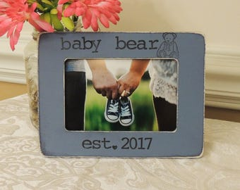 Baby bear picture frame Mothers day Father's day gift Dad Mom to be gift daddy Pregnancy Expecting dad mom gift Personalized photo frame