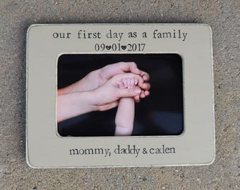 Our First father's mother's day frame gift Personalized newborn photo Picture frame gift for New mom dad to be our adventure awaits frame
