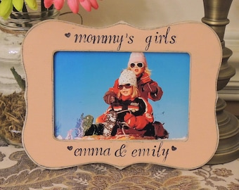 Mommy's girls rustic frame mothers day gift mom mama mommy dad Personalized Custom photo picture frame daughter mother bride wedding gift