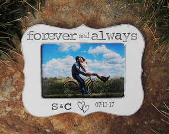 Forever and Always Engagement Gift Personalized Engagement picture Frame Wedding Gift Bridal shower bride to be Wedding Engagement Gift idea