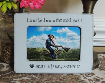 He asked She said yes Engaged Engagement Gift idea Personalized Engagement picture Frame Bridal shower bride to be Wedding Gift