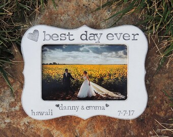 Best day ever frame Engagement Gift idea Personalized Engagement engaged picture Frame Bridal shower bride to be Wedding Gift