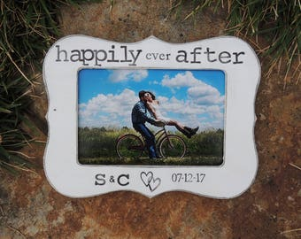 Happily ever after frame Personalized Engagement Gift picture Frame Wedding Gift Bridal shower groom bride to be Wedding Engagement Gift