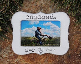Engaged frame Personalized Engagement Gift picture Frame Wedding Gift Bridal shower groom bride to be Wedding Engagement Gift idea