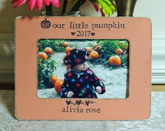 Personalized Our Little Pumpkin Picture Frame New Baby Frame Baby Frame Ultrasound Picture Frame baby first Halloween Autumn Fall Decor