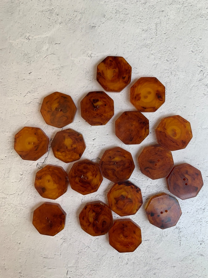 Vintage 18 Small Amber Colored Octagonal Etched Design Plastic Buttons Amber Brown Two Hole Vintage Unique Plastic Buttons