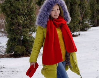 Women's Red Knit Wool Scarf / Handmade Scarf / Knit Scarf