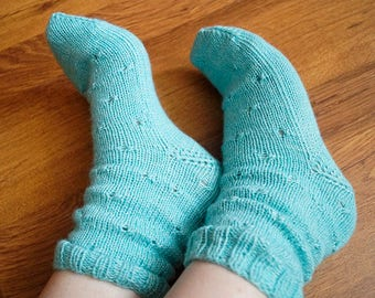 Blue knitted socks Womens hand knit socks Blue boot socks Hand knitted boot socks Casual womens socks Blue home socks Handmade wool socks
