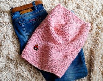 Women's pink Knit Wool Scarf / Handmade Scarf / Knit Scarf