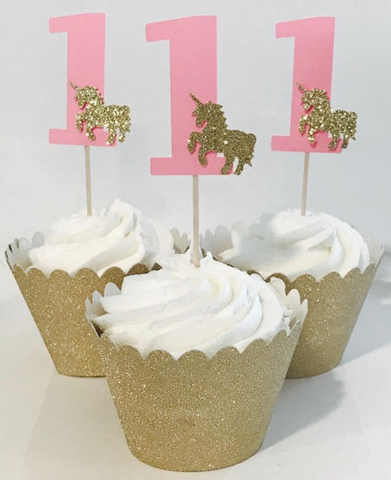 First Birthday Party 12 Cupcake Toppers Unicorn
