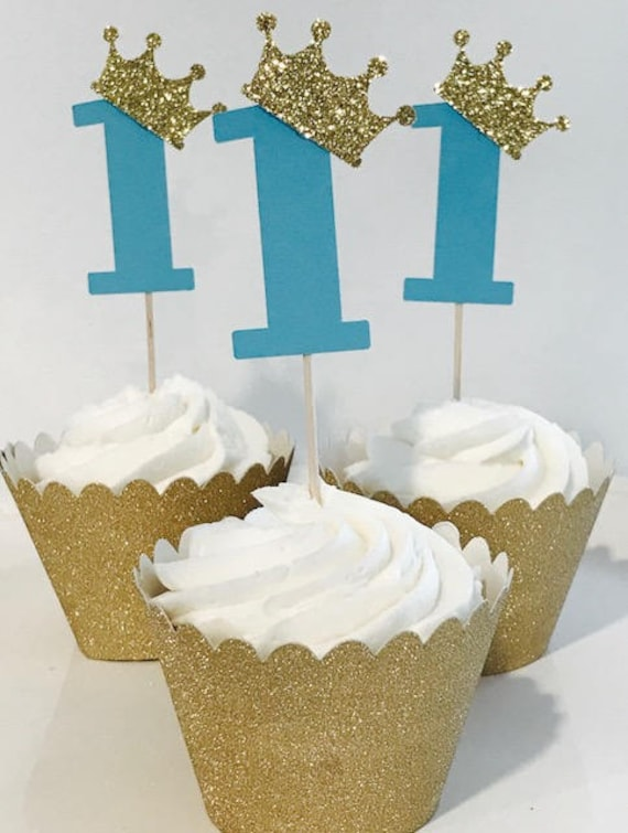 First Birthday Prince 12 Cupcake Toppers Baby Boy