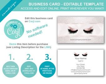 diy business card template makeup artist business card lashes extension business card corjl business card business cards downloads bc003a - Eyelash Extension Business Cards