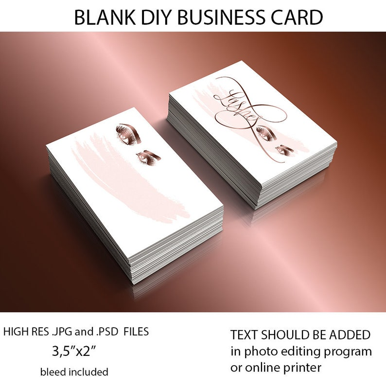 Makeup Artist Business Card Diy Business Card Template Lashes Extension Business Card Makeup Branding Business Cards Downloads Bc006
