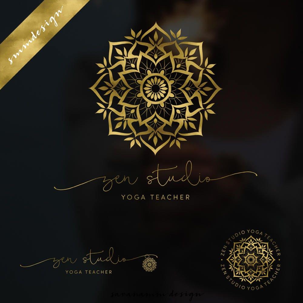 Mandala-Logo-Wasserzeichen Gold-Yoga-Logo Zen-Logo