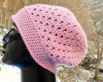 CAP, wool beanie (merino), crochet, pink