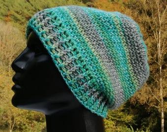 CAP, wool beanie (merino), crochet, green/grey