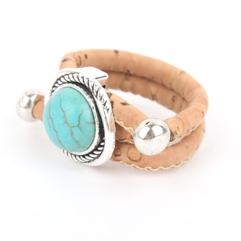 Natural cork handmade turquesa Ring  R-051