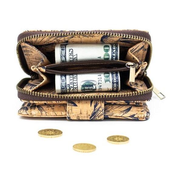 Monedero de Monedas Billetera de Corcho Natural Mujer Cuero de Corcho Cartera Vegana Hecha a Mano 379 D