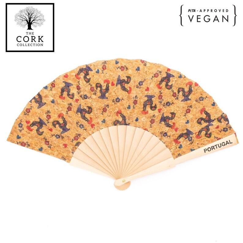 Cork hand fan with Traditional portuguese pattern folding fan L-024-C