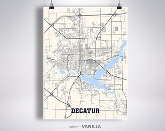 Decatur Illinois Map.Decatur Il Etsy