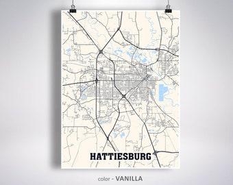 Hattiesburg map | Etsy