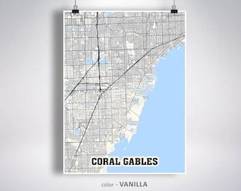 Coral Gables Map Florida.Coral Gables Map Etsy