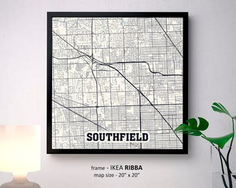 Sterling Heights Michigan Map Print Sterling Heights Square Etsy