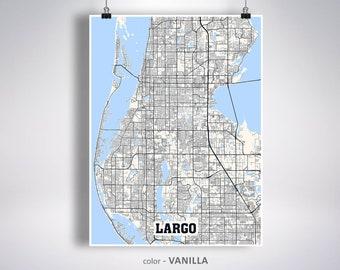 Largo Fl Elevation Map.Largo Fl Etsy