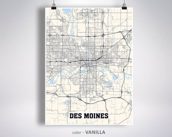 Des moines city map | Etsy on